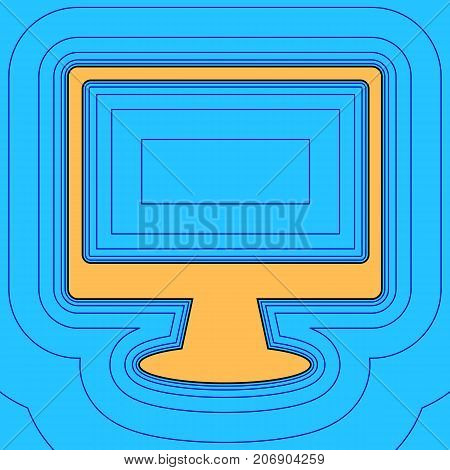 Monitor with brush sign. Vector. Sand color icon with black contour and equidistant blue contours like field at sky blue background. Like waves on map - island in ocean or sea.