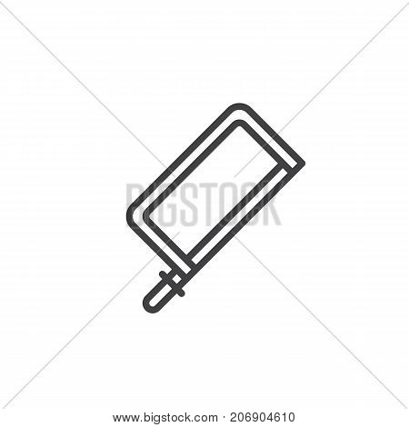 Jig saw line icon, outline vector sign, linear style pictogram isolated on white. Symbol, logo illustration. Editable stroke