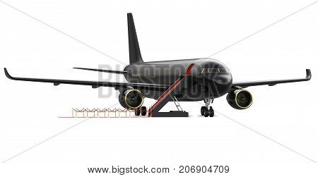 Image of black luxury charter private jet, plane. VIP airplane with a red carpet, 3d rendering isolate on white background. Business travel concept, front view