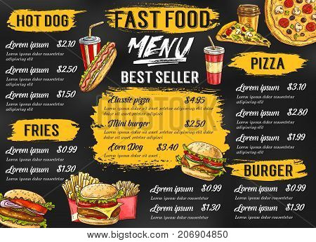 Fast food menu template for fastfood restaurant or cafe. Vector sketch price list for hot dog and fries combo, pizza or cheeseburger and hamburger sandwich, coffee or soda drink and ice cream or donut
