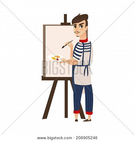 vector flat cartoon man artist painter wearing beret, mustache drawing on easel canvas. French parisian style male portrait full length. Isolated illustration ona white background