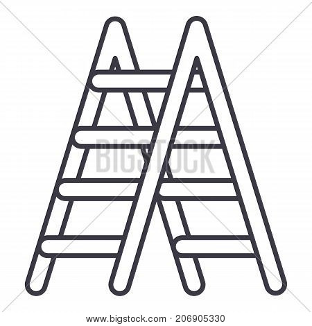 stairs vector line icon, sign, illustration on white background, editable strokes