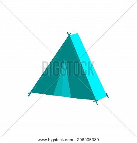 vector flat cartoon green hiking, camping triangle touristic tent ready to use. Isolated illustration on a white background. Travelling, trip attribute concept