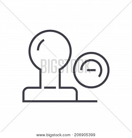 stamp vector line icon, sign, illustration on white background, editable strokes