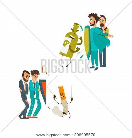 vector flat male doctor protecting male patient by own chest - shield from mental illness - alcoholism, nicotine addiction set. Isolated illustration on a white background