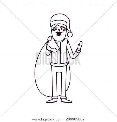 santa claus caricature full body with gift bag hat and costume silhouette on white background vector illustration