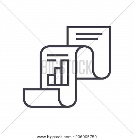 statistical report, statistics vector line icon, sign, illustration on white background, editable strokes