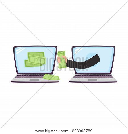 Hacker stealing money using laptop, malicious computer attack concept, cartoon vector illustration isolated on white background. Hacker stealing money, computer attack concept, cartoon illustration