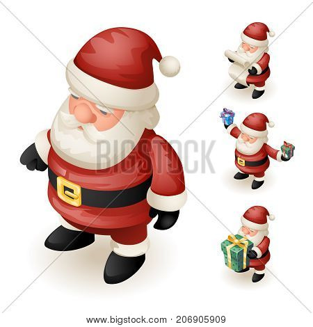3d Santa Claus Grandfather Frost Hold Gift Box Paper Scroll Cute Isometric Christmas New Year Design Cartoon Characters Isolated Icons Set Template Vector Illustration
