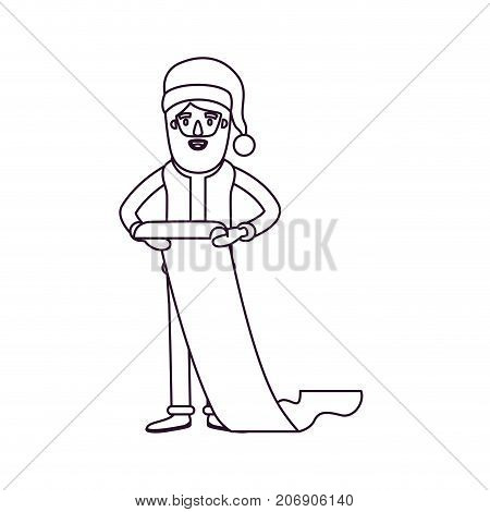 santa claus caricature full body holding a gift list in paper with hat and costume silhouette on white background vector illustration