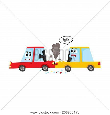 vector flat cartoon car character with eyes crash, accident. Yellow vehicle crashed into rear bamper of red one, both have dents, broken glasses, scratches. Isolated illustration on a white background
