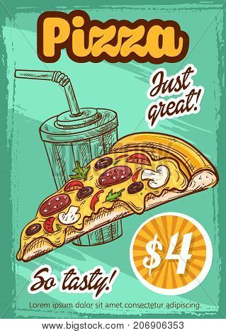 Pizza price card or poster for pizzeria or fast food cinema bistro menu. Vector sketch margherita or carbonara pizza slice with pepperoni sausage, mushrooms or mozzarella cheese and soda drink combo