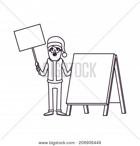 santa claus caricature full body holding a wooden poster and empty advertising with hat and costume silhouette on white background vector illustration