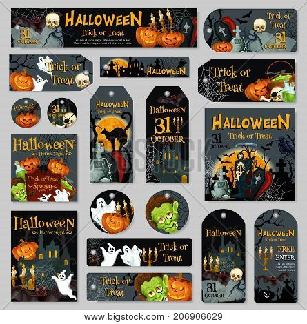 Halloween pumpkin and ghost label or tag set. Spooky Halloween night lantern, bat, horror skull and spider, graveyard with zombie, cat, death skeleton and haunted house for Halloween holiday design