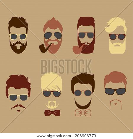 Set of vector mustache, beards, hair hipster with glasses, bow tie and smoking pipe . Retro curly collection. Barber silhouette