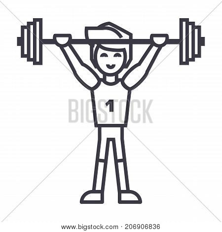 strong athlete with weights barbell, weightlifting vector line icon, sign, illustration on white background, editable strokes poster