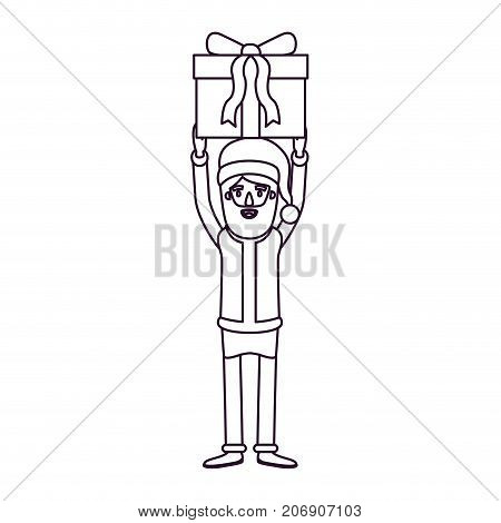 santa claus caricature full body holding up a gift with hat and costume silhouette on white background