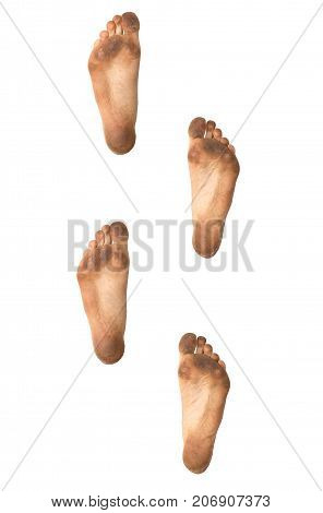 footprints on a white background . Photos in the studio