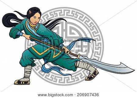 chinese kung-fu girl fighter  with glaive vector illustration