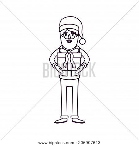 santa claus caricature full body with gift box hat and costume silhouette on white background vector illustration