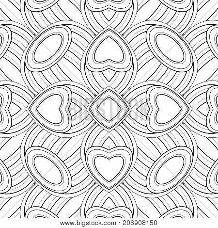 Monochrome Seamless Pattern With Ethnic Motifs