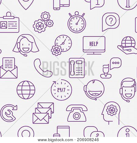 Support service seamless pattern with thin line call center or customer service icons. Vector illustration for banner, web page of support center.