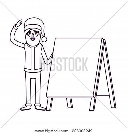 santa claus caricature full body with a placard and hat with christmas costume silhouette on white background vector illustration