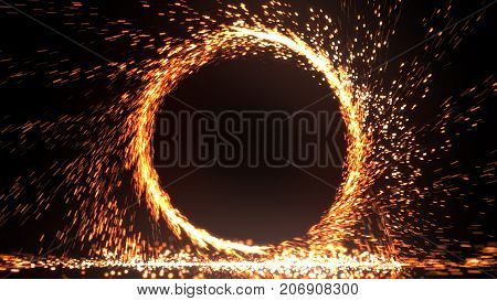 Abstract Fire Ring Of Fire Flame Fireworks Burning. Sparking Fire Circle Pattern Or Cold Fire Or Fir