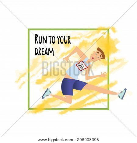 Running person. Young man jumping over the barrier. Template of poster for runners club. Vector illustration, isolated on white background.