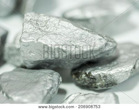 macro silver ore Precious stone value concept