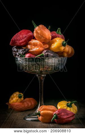 different kinds of hot chili peppers on silverware on black background