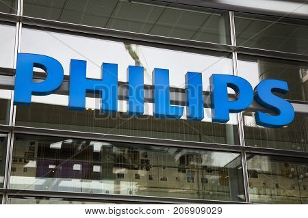 Letters Philips On A Building In Amsterdam