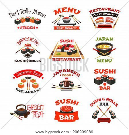 Sushi restaurant or bar icons for menu template. Vector isolated set of fish sushi rolls, rice and salmon tobiko, eel or tuna sashimi and ramen noodles soup, Japanese tea and chopsticks with soy sauce