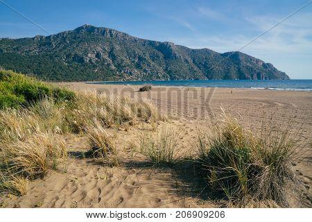 Idyllic seascape. Incredible seascape. Turtle beach Istuzu Turkey