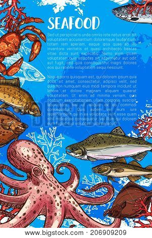 Seafood poster of fresh octopus, trout or flounder and squid, lobster crab or salmon and tuna. Vector sketch underwater prawn shrimp, ocean spats and herring sketch for sea fish food market