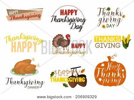 Typographic Thanksgiving logo design set holiday autumn season traditional typography badge vector illustration. Happy thanksgiving seasonal harvest food label.