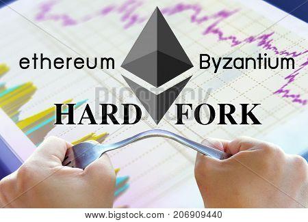 Concept of ethereum hardfork split by byzantium ethereum Cryptocurrency