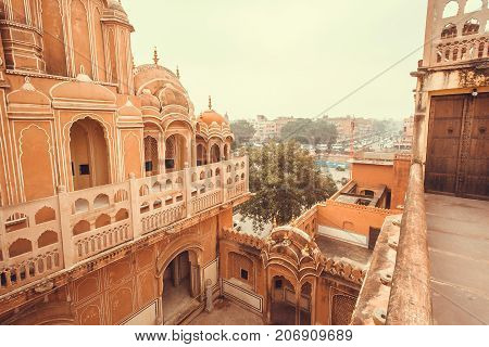 JAIPUR, INDIA - FEB 6, 2015: Carved balconies and towers of Hawa Mahal - Palace of Winds - built in 1799 on February 6, 2015. Jaipur with population 6664000 people is a capital of Rajasthan