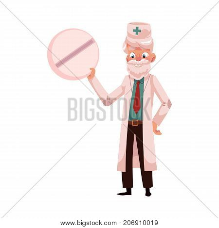 Old doctor in medical coat holding huge, giant round pill, cartoon vector illustration isolated on white background. Full length cartoon portrait of doctor with huge, giant pill, tablet, medicine