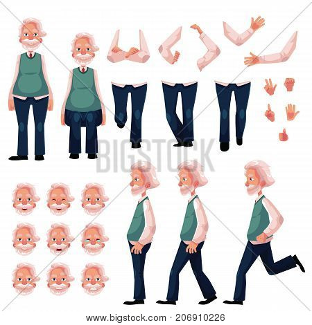 Old, senior man character creation set with different poses, gestures, emotions, cartoon vector illustration on white background. Animation ready old man creation set, constructor, changeable parts