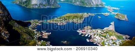 Panorama Lofoten is an archipelago in the county of Nordland, Norway. Tilt-shift lens.