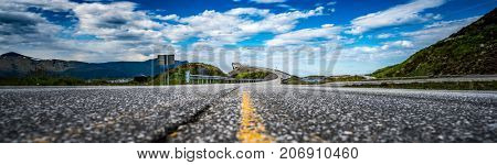 Panorama Norway Atlantic Ocean Road or the Atlantic Road (Atlanterhavsveien) been awarded the title as