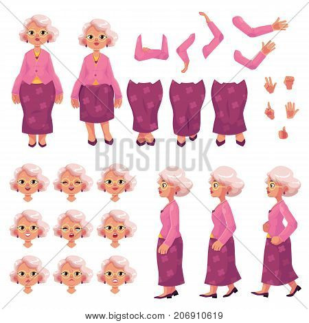 Old, senior woman character creation set with different poses, gestures, emotions, cartoon vector illustration on white background. Animation ready old lady, senior woman creation set, constructor poster