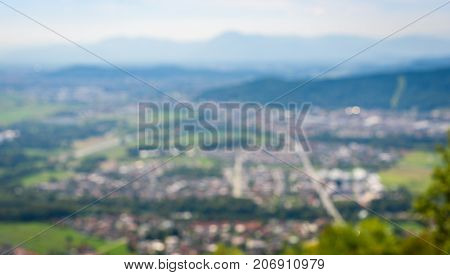 The View Of Ljubljana From Smarna Gora Intentionally Blurred.
