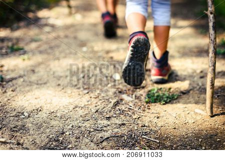 Children Hiking In Mountains Or Forest With Sport Hiking Shoes.