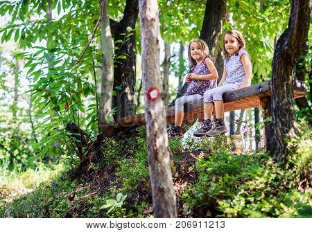 Twin Girls Resting And Sitting On Bench In Woods.
