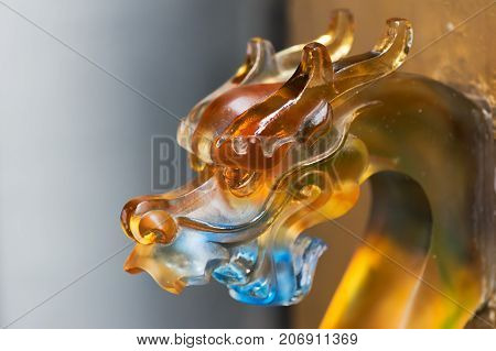 Colorful glass chinese dragon head door knob