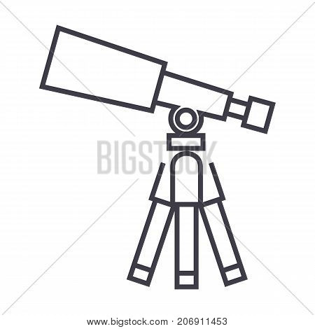 telescope, scope vector line icon, sign, illustration on white background, editable strokes