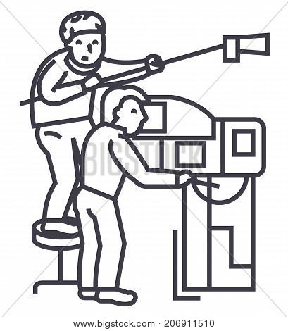 television, tv broadcast, film crew, video vector line icon, sign, illustration on white background, editable strokes