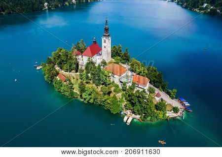 Slovenia - Aerial view resort Lake Bled. Aerial FPV drone photography.